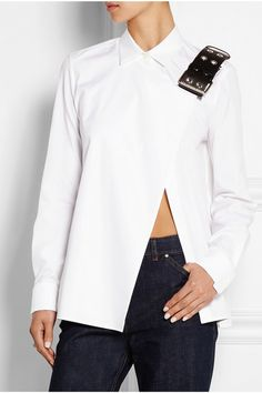 BALENCIAGA Leather-trimmed cotton-poplin shirt