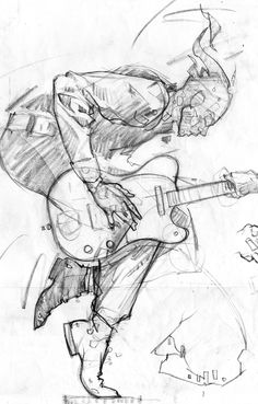 From the sketchbook of Martin French... this guy's art blows me away, whether it's the initial sketch (like this) or the final piece. #sketch #sketchbook #guitar #music #musician