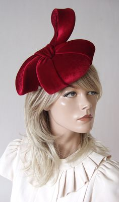 Hand Sewn Smartie Headpiece in Berry Red colour. A smartie shaped base headpiece hand-blocked and hand Sewn in soft winter berry red velvet and dressed with matching large stiffened velvet bow. Would compliment many colours of winter or christmas wedding guest outfits. Outfit ideas for Autumn Wedding Guests. What to wear to an Autumn Wedding. What to wear for a Winter Wedding. Winter wedding Mother of the Bride Hat. Neutral colour fascinator. Neutral colour hat for a Winter Wedding. Fashion Christmas Wedding Guest Outfits, Wedding Hats For Guests, Mother Of The Bride Hats, Wedding Fascinators, Red Colour, Winter Fashion Outfits, Autumn Wedding, Friend Wedding, Hand Sewn