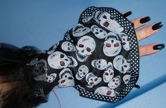 """Reversible Petal Gloves"" Black Rose / Glitter Skull, by Cheyenne Hale...(this pair is sold)"