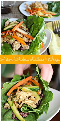 Asian Chicken Lettuce Wraps made with chicken and fresh veggies Simple and Savory