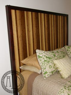 Bamboo Headboard - Jeff has this exact rug. We were just talking about it tonight. He suggested hanging it on the walk as art & I thought what an interesting headboard.