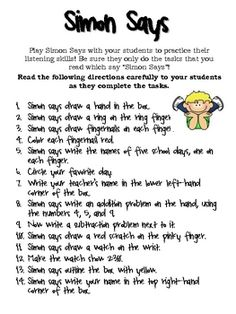 Fun listening skill worksheet. Your students will love this ...
