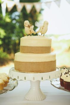Two-tiered #weddingcake topped with birds - too cute! {Amanda Sutton Photography; Cake: Jenny Church}