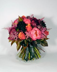 Cherry Brandy Spring Bouquet - Cherry Brandy Roses, Peonies, Black Dahlias, Astilbe and Astransia