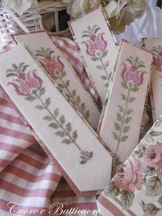 Pretty bookmarks - Heart and Heartbeat Cross Stitch Bookmarks, Cross Stitch Alphabet, Cross Stitch Patterns, Crochet Patterns, Flower Model, Cross Stitch Finishing, Celtic Designs, Cross Stitch Flowers, Ribbon Embroidery