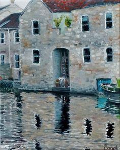 """Bath"" - Painting, Oil on Canvas (30 cm x 24 cm) by (W)ortschnipsel"