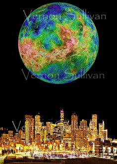 Denver Colorado skyline cityscape 8 x 10 print by vernonsullivan2, £16.00