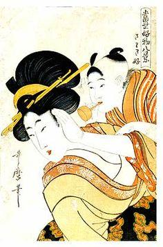 喜多川歌麿「当世好物八景 さわき好」