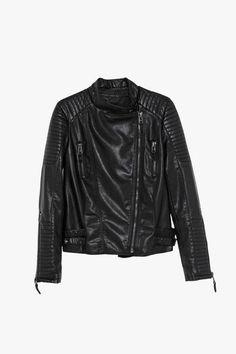 Black Faux Leather Moto Jacket Black Quilt 031fddd7f