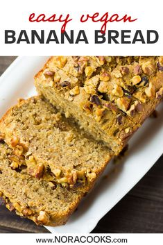 What could be better than banana bread, you ask? How about this healthier vegan version of banana bread? Vegan Recipes One Pot, Vegan Brunch Recipes, Pear Recipes, Vegan Desserts, Vegan Banana Bread, Banana Bread Recipes, Zucchini Bread, Vegan Baking, Vegan Food