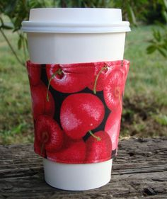 Cherrylicious Cherries Reusable Fabric Coffee Cozy