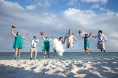 destination wedding, beach wedding, mexico wedding, cancun wedding, teal and pink wedding, wedding party picture, Dreams Riviera Cancun, Adventure Photos