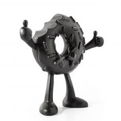 Black donut art toy view 45
