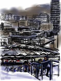 Craig Longmuir, 'Sheffield in the snow' - iPad drawing