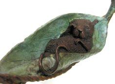 Ol' Sleepy Head – (Mouse asleep in Leaf) detail - David Meredith Sculpture