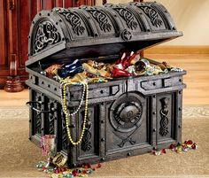 A Pirate Chest Toy Box is just what we are after for our grandson's Pirate themed bedroom. We are redoing our grandson's bedroom since all he talks about is having a pirate bedroom. After hours of searching for kids bedroom decorating ideas we. Pirate Treasure Chest, Treasure Boxes, Pirate Bedroom, Kids Bedroom, Wood Cooler, Trunks And Chests, Wooden Chest, Prop Design, Wooden Projects