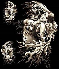 Grim Reaper riding a harley Grim Reaper Art, Don't Fear The Reaper, Dark Fantasy Art, Dark Art, Reaper Drawing, Reaper Tattoo, Skull Pictures, Skull Artwork, Chicano Art