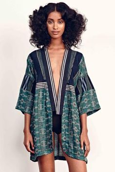 Kimono in Ace & Jig's rumpled supersoft doublegauze Emerald fabric. Ace & Jig fabrics are woven by artisans in India on ancient hand looms.