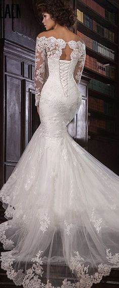 Romantic Tulle Off-the-shoulder Neckline Mermaid Wedding Dress With Beaded Lace Appliques
