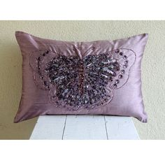 Decorative Oblong / Lumbar Rectangle Throw Pillow Covers Accent Pillow Couch 12x18 Silk Pillow Case Bead Embroidered Purple Glitter Wings