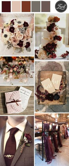 LOVE these colors. How classy! burgundy and blush vintage wedding ideas