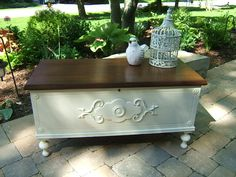 Painted Lane Chest- Refinished with MinWax Walnut Stain and Annie Sloan Old white Refurbished Furniture, Repurposed Furniture, Shabby Chic Furniture, Furniture Makeover, Cedar Chest Redo, Painted Cedar Chest, Wooden Chest, Chalk Paint Furniture, Furniture Projects