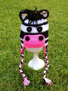 Crochet Zebra Hat, Newborn Photo Prop, Baby Crochet Hat. $22.00, via Etsy.