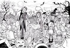 Kleuren voor volwassenen Halloween