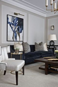 Modern Contemporary Living Room Furniture How to Get A Modern Classic Living Room Inspiration Design Grey Walls Living Room, Navy Living Rooms, Living Room Paint, New Living Room, Living Room Modern, Gray Walls, Small Living, Cozy Living, Navy And White Living Room