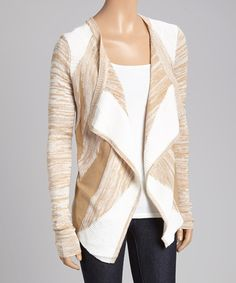 Look what I found on #zulily! Cream & Honey Geometric Open Cardigan by Allie & Rob #zulilyfinds