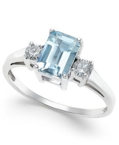 Aquamarine (1 ct. t.w.) and Diamond (1/5 ct. t.w.) Ring in 14k White Gold
