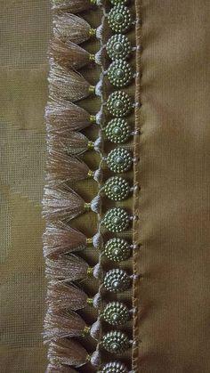 Saree Kuchu New Designs, Saree Tassels Designs, Wedding Saree Blouse Designs, Mehndi Designs, Indian Embroidery Designs, Lehenga Saree Design, Hand Work Blouse Design, Hand Embroidery Dress, Sleeves Designs For Dresses