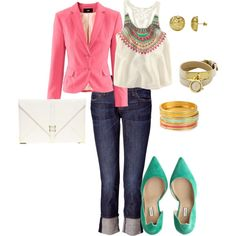 Pink, White, Turquoise, Gold, Jeans Outfit