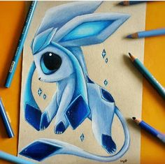 Pencil Drawings Glaceon by SkyKristal - Cute Disney Drawings, Cute Animal Drawings, Kawaii Drawings, Cute Drawings, Pencil Drawings, Cute Pokemon Wallpaper, Cute Disney Wallpaper, Pokemon Mignon, Cute Pokemon Pictures