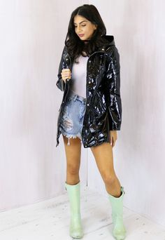 Oxford PVC High Shine Festival Hooded Raincoat Mac in Black - One Nation Clothing - One Nation Clothing - 9