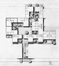 Site Plan, Alder Court, Philadelphia PA, 1975 Louis Sauer, Architect is part of architecture - 10 attached courtyard houses & 3 townhouses in Philadelphia's Center City redevelopment Architecture Site Plan, Architecture Concept Diagram, Education Architecture, Architecture Drawings, Architecture Portfolio, School Architecture, Architecture Diagrams, Site Plan Drawing, Cluster House