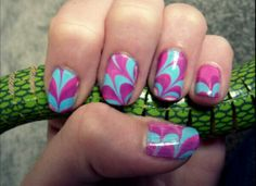 Here is a pretty purple and blue nail design