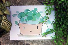 Pilea Plant Friend // Hand-drawn A6 Art Print // Oatmeal Thief
