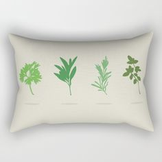 Scarborough Fair Rectangular Pillow - Minimalist, silhouette, herbs, green, Simon and Garfunkel, Paul Simon, lyrics, fan art, parsley, sage, rosemary, thyme, art, design, illustration, vector