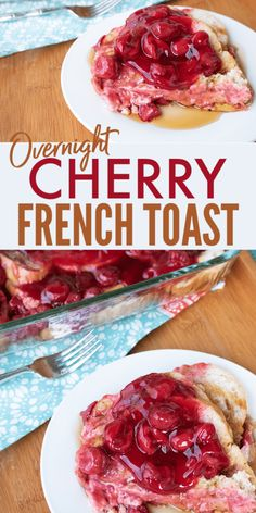 Cherry Baked French Toast Casserole This Overnight Cherry Baked French Toast Bake is such a delicious and easy breakfast casserole!This Overnight Cherry Baked French Toast Bake is such a delicious and easy breakfast casserole! Make Ahead French Toast, Overnight French Toast, French Toast Bake, Overnight Breakfast, Breakfast Party Foods, Breakfast Toast, Breakfast Recipes, Breakfast Ideas, Breakfast Plate