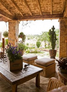 outdoor living area at a desert home - from Traditional Home magazine