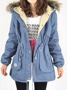 Blue Fur Hooded Long Sleeve Drawstring Pockets Coat US$94.84