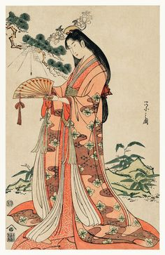 Sotoori Hime by Eishi Hosoda a traditional Japanese Ukyio-e style illustration of a traditional Japanese princess, Sotoori princess catching a spider with a fan. Original from Library of Japanese Art Prints, Japanese Drawings, Japanese Artwork, Japanese Tattoo Designs, Japanese Painting, Japan Illustration, Makeup Illustration, Bodysuit Tattoos, Yakuza Tattoo