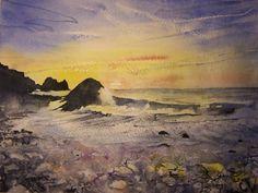 Watercolour painting 'Cornish winter sunset'