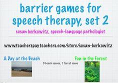 Barrier Games for Speech Therapy; Set 2 from www.teacherspayteachers.com/store/susan-berkowitz