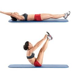 Lie faceup on the floor with your legs and arms straight. Hold your arms straight...