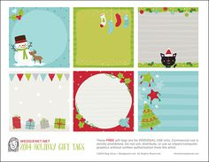 Wedgienet 2014 printable holiday gift tags