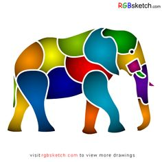 RGBsketch.com: How to draw African Elephant - step by step - kids...