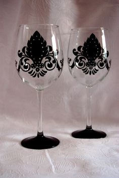 Damask Wine Glasses Hand Painted by JLJInspirations